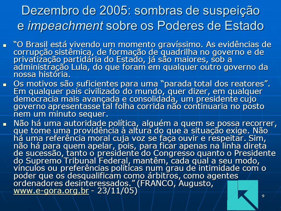 9 Dezembro de 2005: sombras de suspeição e impeachment sobre os Poderes de Estado O Brasil está vivendo um momento gravíssimo. As evidências de corrup