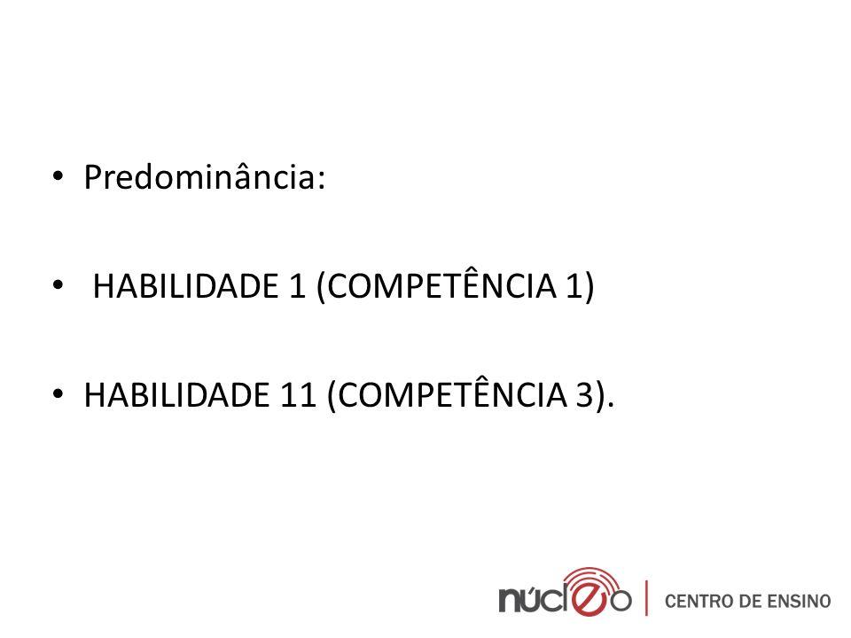 Predominância: HABILIDADE 1 (COMPETÊNCIA 1) HABILIDADE 11 (COMPETÊNCIA 3).