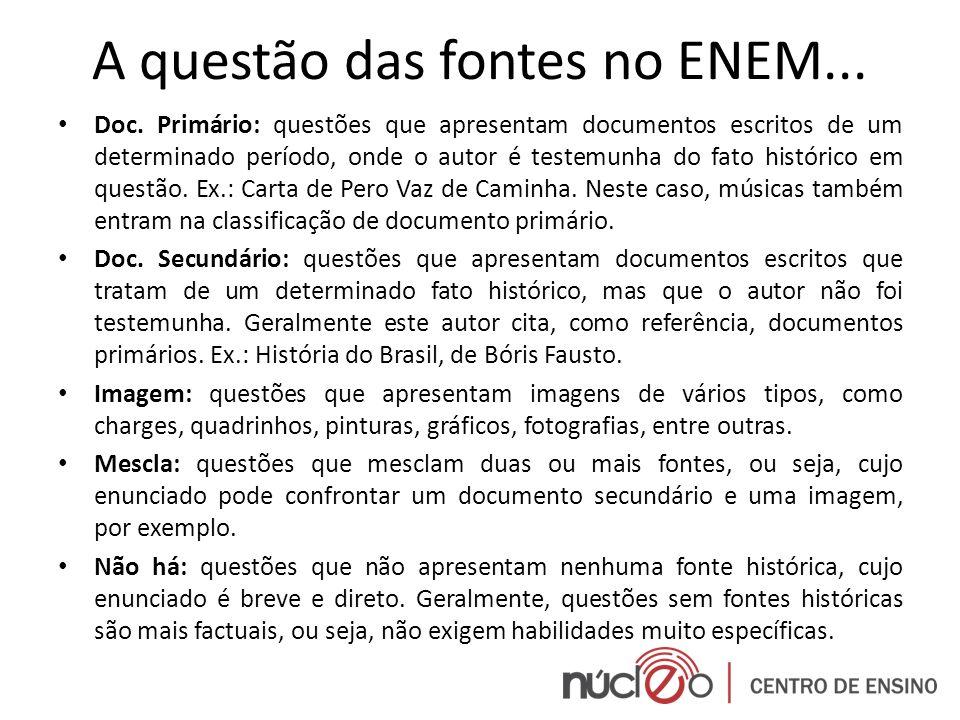 A questão das fontes no ENEM... Doc. Primário: questões que apresentam documentos escritos de um determinado período, onde o autor é testemunha do fat
