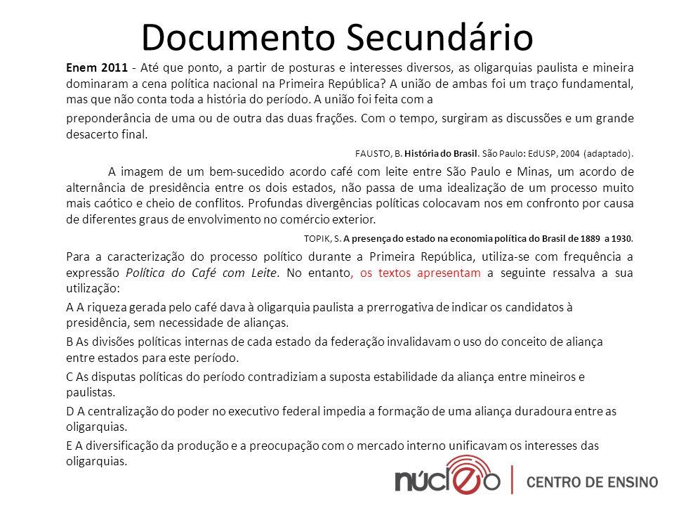 Documento Secundário Enem 2011 - Até que ponto, a partir de posturas e interesses diversos, as oligarquias paulista e mineira dominaram a cena polític