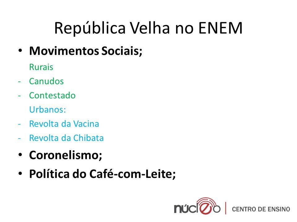 República Velha no ENEM Movimentos Sociais; Rurais -Canudos -Contestado Urbanos: -Revolta da Vacina -Revolta da Chibata Coronelismo; Política do Café-