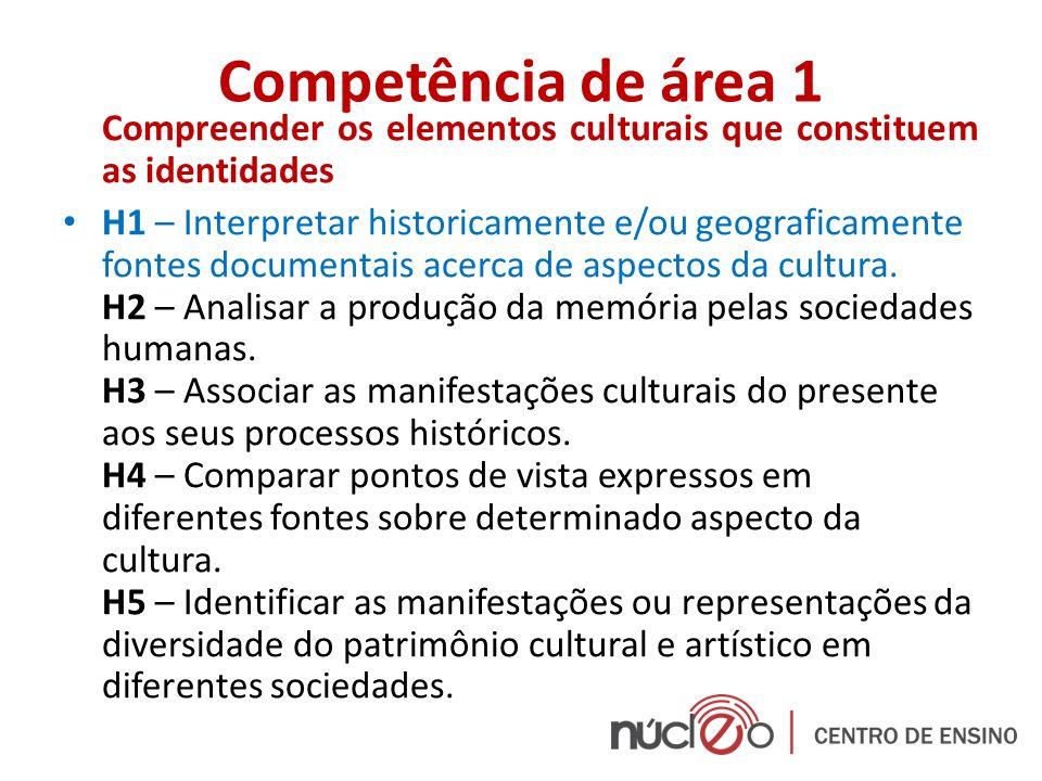 Competência de área 1 Compreender os elementos culturais que constituem as identidades H1 – Interpretar historicamente e/ou geograficamente fontes doc