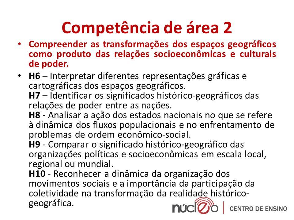 Competência de área 3 Compreender a produção e o papel histórico das instituições sociais, políticas e econômicas, associando-as aos diferentes grupos, conflitos e movimentos sociais.