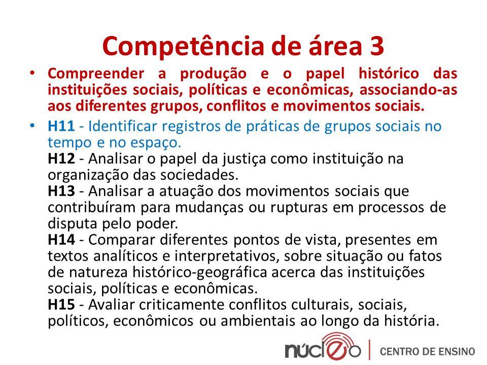 Competência de área 3 Compreender a produção e o papel histórico das instituições sociais, políticas e econômicas, associando-as aos diferentes grupos