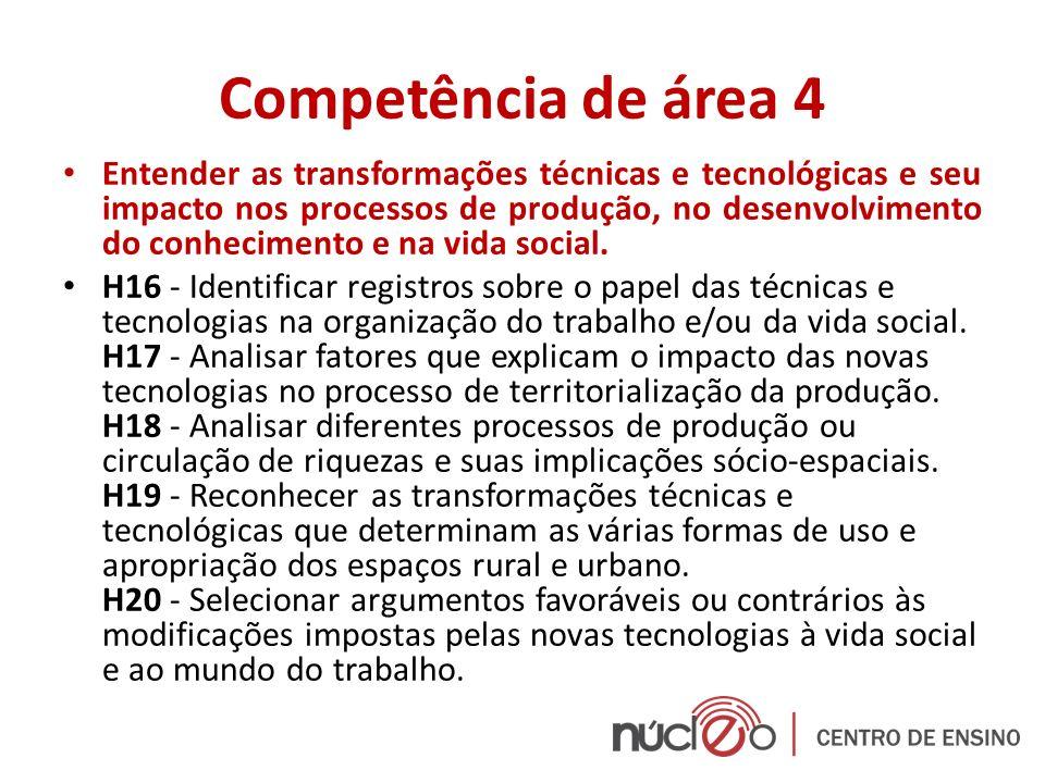 Competência de área 4 Entender as transformações técnicas e tecnológicas e seu impacto nos processos de produção, no desenvolvimento do conhecimento e