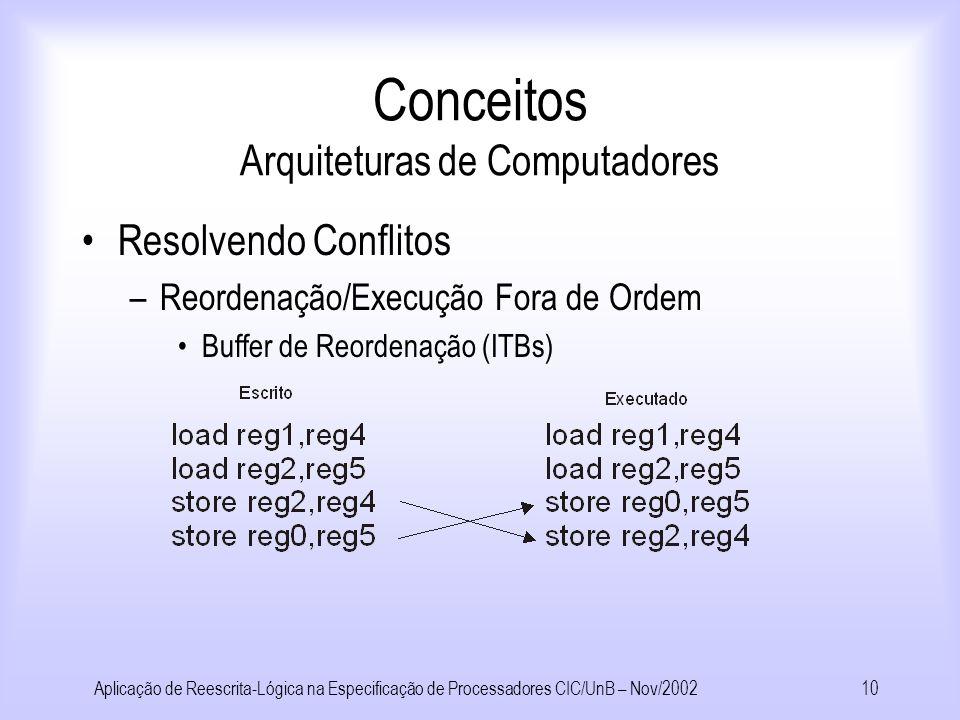 Aplicação de Reescrita-Lógica na Especificação de Processadores CIC/UnB – Nov/20029 Conceitos Arquiteturas de Computadores Ganho de desempenho – Pipelining –Conceito: aproveitar os componentes ociosos