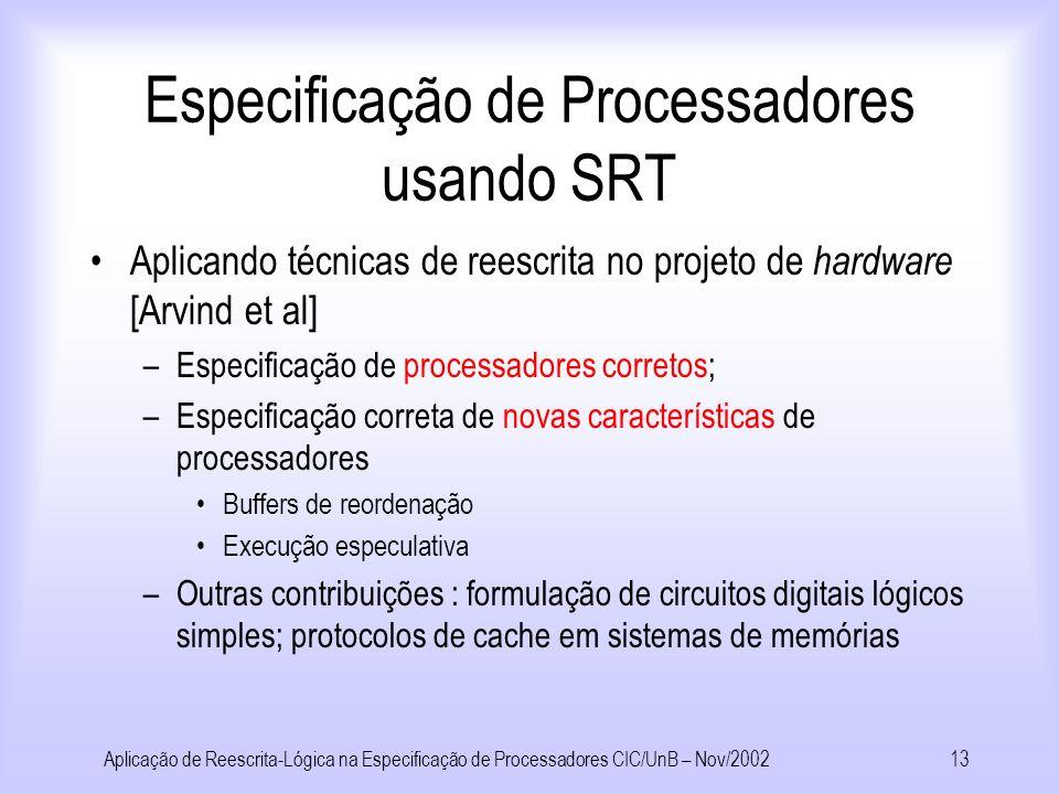 Aplicação de Reescrita-Lógica na Especificação de Processadores CIC/UnB – Nov/200212 Conceitos Arquiteturas de Computadores Execução especulativa : 2-