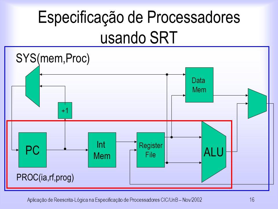Aplicação de Reescrita-Lógica na Especificação de Processadores CIC/UnB – Nov/200215 Especificação de Processadores usando SRT Arquitetura AX –Conjunto de Instruções: r:=Loadc(v)r:=Loadpc r:=Op(r 1,r 2 ) Jz(r 1,r 2 ) r:=Load(r 1 ) Store(r 1,r 2 ) Processador Pb –Ciclo único, execução em ordem, sem pipeline
