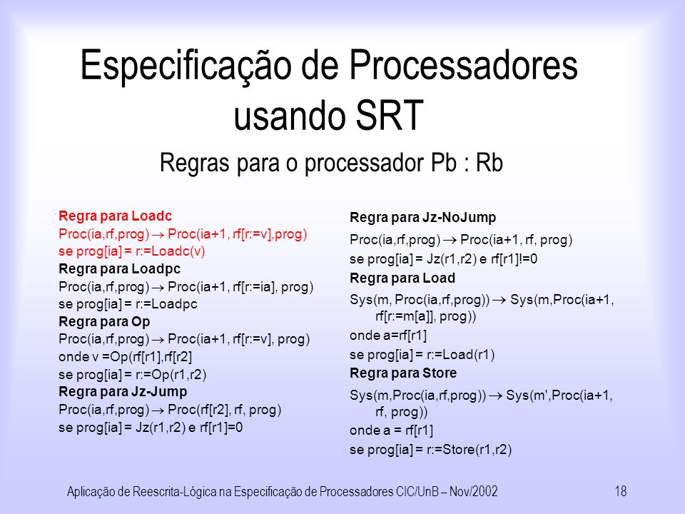 Aplicação de Reescrita-Lógica na Especificação de Processadores CIC/UnB – Nov/200217 Especificação de Processadores usando SRT No contexto da especificação de processadores: Termos representam estados e regras de reescrita as transformações entre estados, de acordo com o conjunto de instruções dos processadores.