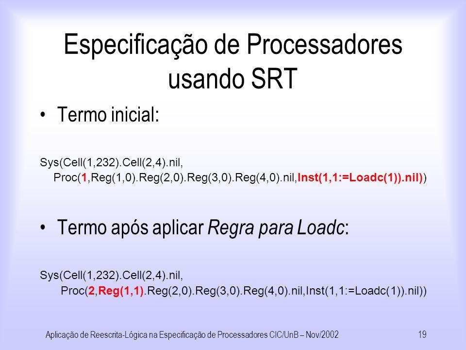 Aplicação de Reescrita-Lógica na Especificação de Processadores CIC/UnB – Nov/200218 Especificação de Processadores usando SRT Regra para Loadc Proc(ia,rf,prog) Proc(ia+1, rf[r:=v],prog) se prog[ia] = r:=Loadc(v) Regra para Loadpc Proc(ia,rf,prog) Proc(ia+1, rf[r:=ia], prog) se prog[ia] = r:=Loadpc Regra para Op Proc(ia,rf,prog) Proc(ia+1, rf[r:=v], prog) onde v =Op(rf[r1],rf[r2] se prog[ia] = r:=Op(r1,r2) Regra para Jz-Jump Proc(ia,rf,prog) Proc(rf[r2], rf, prog) se prog[ia] = Jz(r1,r2) e rf[r1]=0 Regra para Jz-NoJump Proc(ia,rf,prog) Proc(ia+1, rf, prog) se prog[ia] = Jz(r1,r2) e rf[r1]!=0 Regra para Load Sys(m, Proc(ia,rf,prog)) Sys(m,Proc(ia+1, rf[r:=m[a]], prog)) onde a=rf[r1] se prog[ia] = r:=Load(r1) Regra para Store Sys(m,Proc(ia,rf,prog)) Sys(m ,Proc(ia+1, rf, prog)) onde a = rf[r1] se prog[ia] = r:=Store(r1,r2) Regras para o processador Pb : Rb