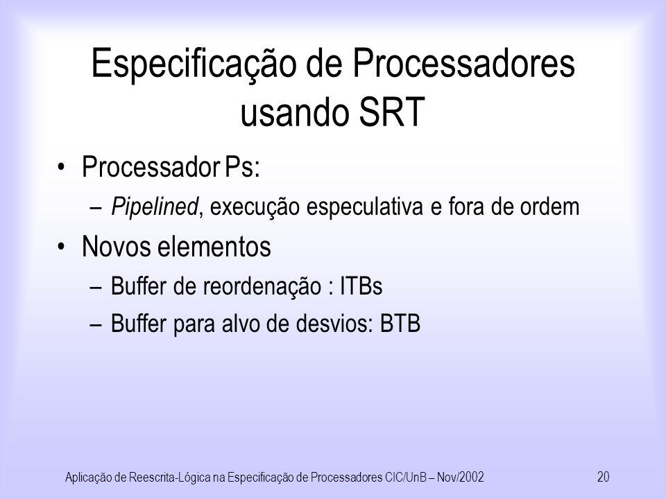Aplicação de Reescrita-Lógica na Especificação de Processadores CIC/UnB – Nov/200219 Especificação de Processadores usando SRT Termo inicial: Sys(Cell(1,232).Cell(2,4).nil, Proc(1,Reg(1,0).Reg(2,0).Reg(3,0).Reg(4,0).nil,Inst(1,1:=Loadc(1)).nil)) Termo após aplicar Regra para Loadc : Sys(Cell(1,232).Cell(2,4).nil, Proc(2,Reg(1,1).Reg(2,0).Reg(3,0).Reg(4,0).nil,Inst(1,1:=Loadc(1)).nil))