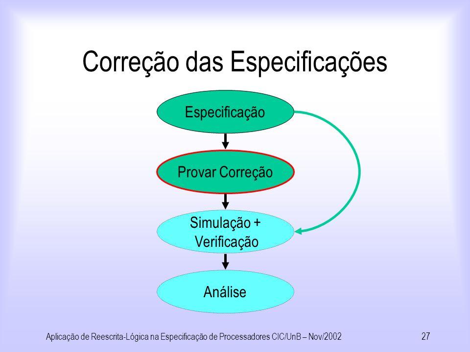 Aplicação de Reescrita-Lógica na Especificação de Processadores CIC/UnB – Nov/200226 Especificação de Processadores usando SRT Jz(0,nia),Spec(pia) t 2
