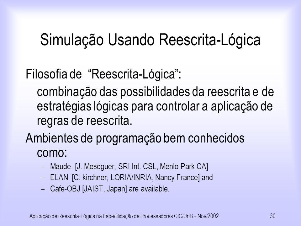 Aplicação de Reescrita-Lógica na Especificação de Processadores CIC/UnB – Nov/200229 Correção das Especificações R B simula R S : R S Termos do proces