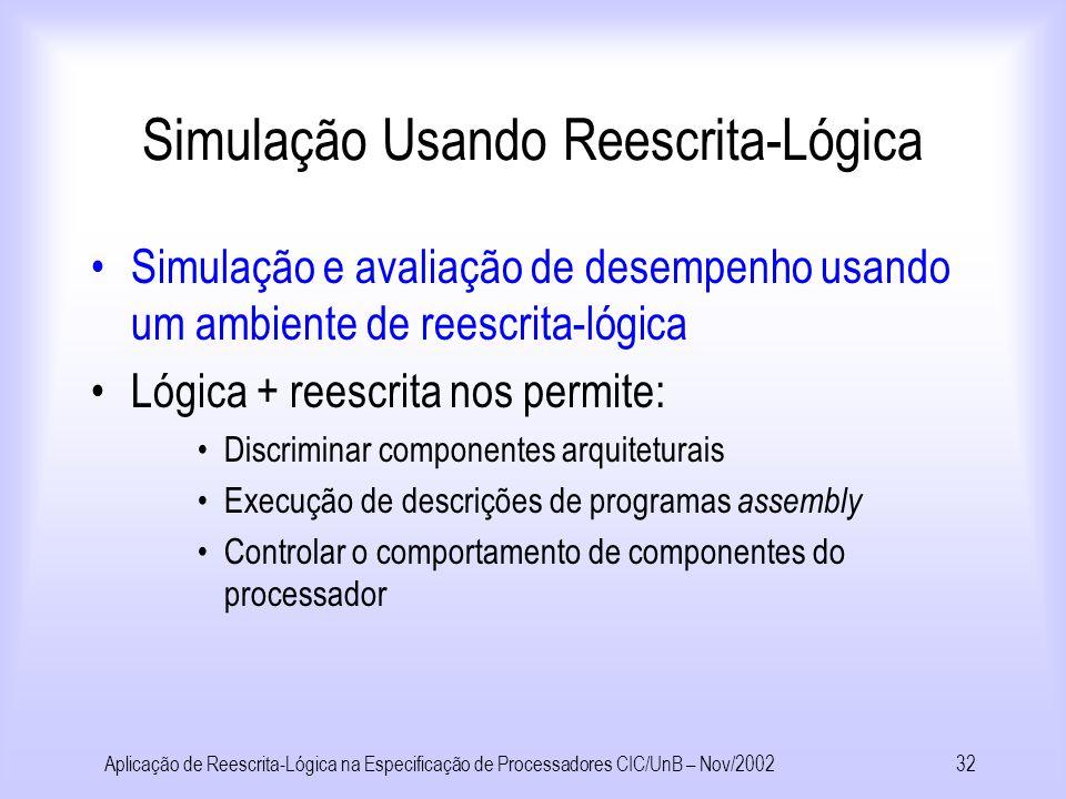 Aplicação de Reescrita-Lógica na Especificação de Processadores CIC/UnB – Nov/200231 Simulação + Verificação Análise Simulação + Verificação Simulação + Verificação Simulação Usando Reescrita-Lógica Reescrita VHDL/ Verilog -Lógica VHDL/ Verilog Especificação Provar Correção