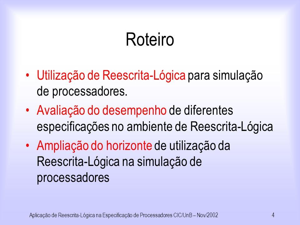 Aplicação de Reescrita-Lógica na Especificação de Processadores CIC/UnB – Nov/20023 Roteiro Conceitos: –Teoria da Reescrita –Arquiteturas de Computado