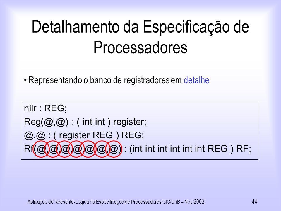 Aplicação de Reescrita-Lógica na Especificação de Processadores CIC/UnB – Nov/200243 Detalhamento da Especificação de Processadores