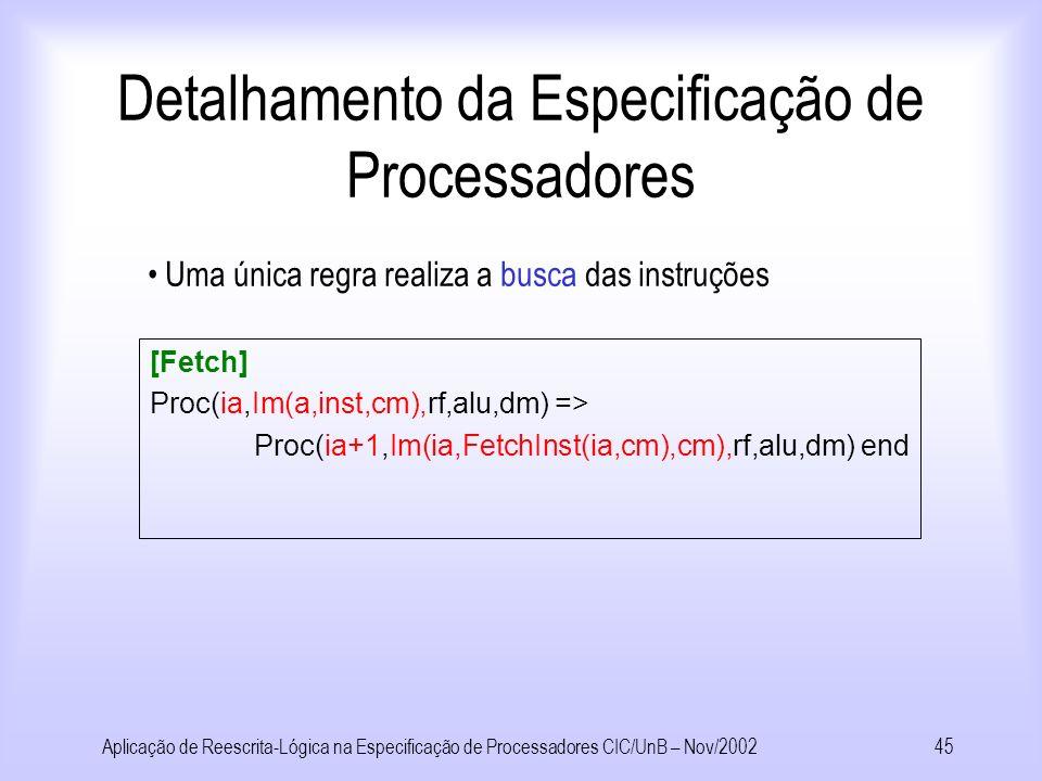 Aplicação de Reescrita-Lógica na Especificação de Processadores CIC/UnB – Nov/200244 Detalhamento da Especificação de Processadores nilr : REG; Reg(@,@) : ( int int ) register; @.@ : ( register REG ) REG; Rf(@,@,@,@,@,@,@) : (int int int int int int REG ) RF; Representando o banco de registradores em detalhe