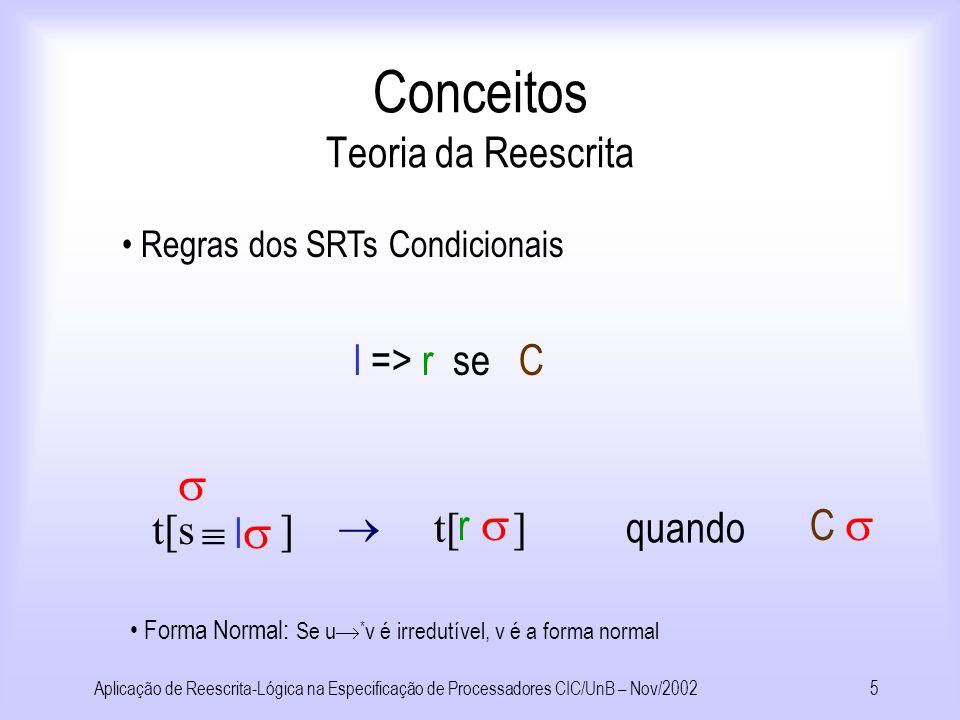 Aplicação de Reescrita-Lógica na Especificação de Processadores CIC/UnB – Nov/20024 Roteiro Utilização de Reescrita-Lógica para simulação de processadores.