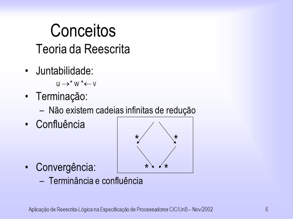 Aplicação de Reescrita-Lógica na Especificação de Processadores CIC/UnB – Nov/20025 Conceitos Teoria da Reescrita l l => r se C C r t[s ] t[ ] quando Regras dos SRTs Condicionais Forma Normal: Se u * v é irredutível, v é a forma normal