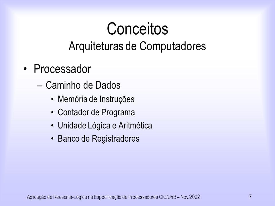 Aplicação de Reescrita-Lógica na Especificação de Processadores CIC/UnB – Nov/20026 Juntabilidade: u * w * v Terminação: –Não existem cadeias infinitas de redução Confluência Convergência: –Terminância e confluência Conceitos Teoria da Reescrita ** **