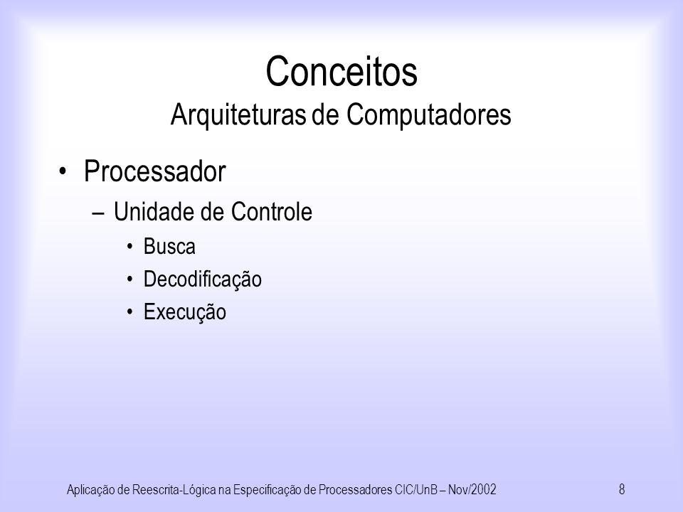 Aplicação de Reescrita-Lógica na Especificação de Processadores CIC/UnB – Nov/20027 Conceitos Arquiteturas de Computadores Processador –Caminho de Dados Memória de Instruções Contador de Programa Unidade Lógica e Aritmética Banco de Registradores