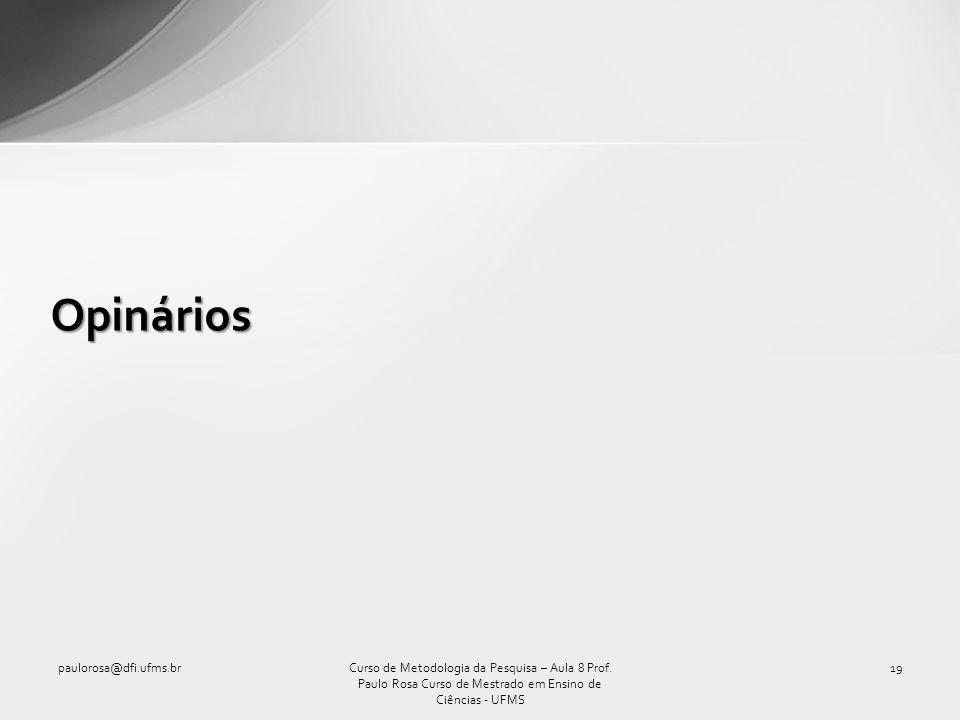 Opinários paulorosa@dfi.ufms.br19Curso de Metodologia da Pesquisa – Aula 8 Prof. Paulo Rosa Curso de Mestrado em Ensino de Ciências - UFMS