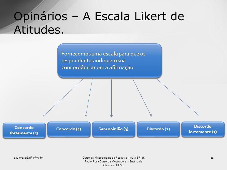 Opinários – A Escala Likert de Atitudes. paulorosa@dfi.ufms.br21Curso de Metodologia da Pesquisa – Aula 8 Prof. Paulo Rosa Curso de Mestrado em Ensino