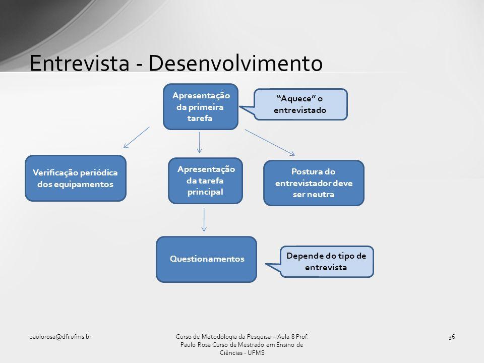 Entrevista - Desenvolvimento paulorosa@dfi.ufms.br36Curso de Metodologia da Pesquisa – Aula 8 Prof. Paulo Rosa Curso de Mestrado em Ensino de Ciências