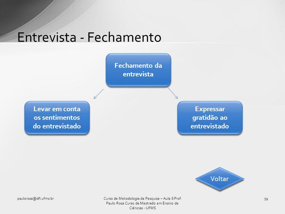Entrevista - Fechamento paulorosa@dfi.ufms.br39Curso de Metodologia da Pesquisa – Aula 8 Prof. Paulo Rosa Curso de Mestrado em Ensino de Ciências - UF