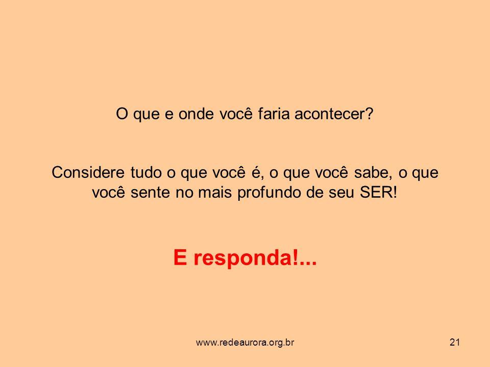 www.redeaurora.org.br21 O que e onde você faria acontecer.