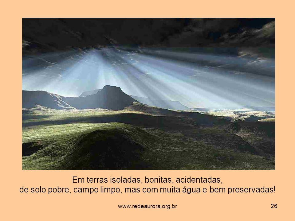www.redeaurora.org.br26 Em terras isoladas, bonitas, acidentadas, de solo pobre, campo limpo, mas com muita água e bem preservadas!