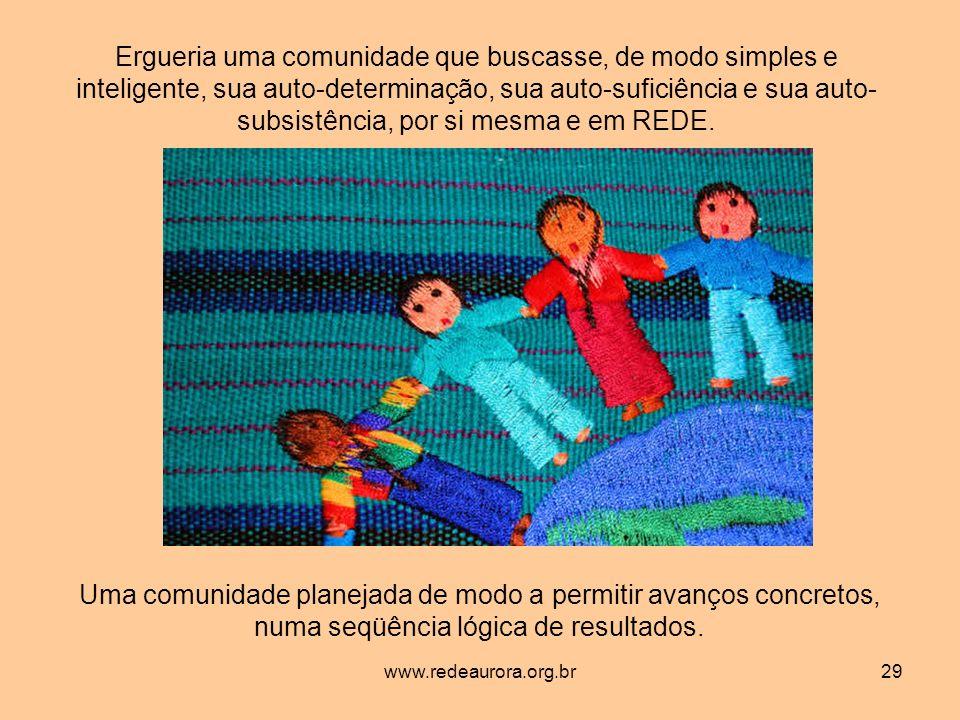 www.redeaurora.org.br29 Ergueria uma comunidade que buscasse, de modo simples e inteligente, sua auto-determinação, sua auto-suficiência e sua auto- subsistência, por si mesma e em REDE.