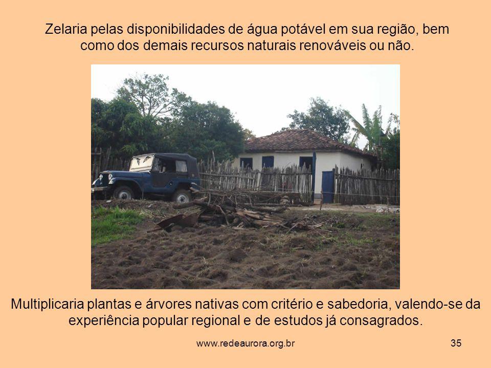 www.redeaurora.org.br35 Zelaria pelas disponibilidades de água potável em sua região, bem como dos demais recursos naturais renováveis ou não.