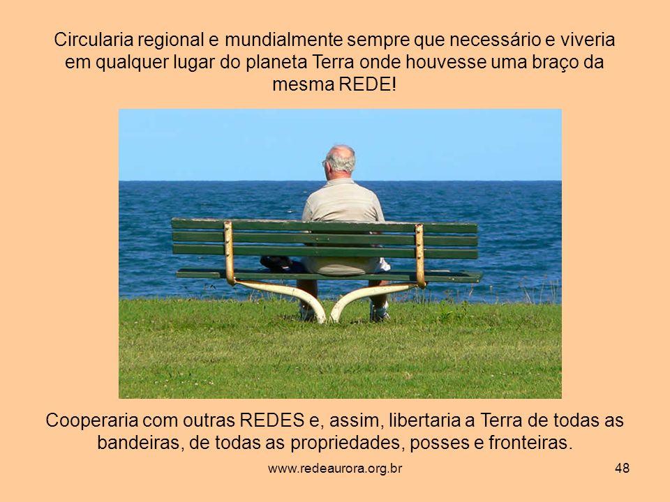 www.redeaurora.org.br48 Circularia regional e mundialmente sempre que necessário e viveria em qualquer lugar do planeta Terra onde houvesse uma braço da mesma REDE.