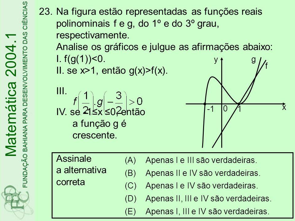 23.Na figura estão representadas as funções reais polinominais f e g, do 1º e do 3º grau, respectivamente. Analise os gráficos e julgue as afirmações