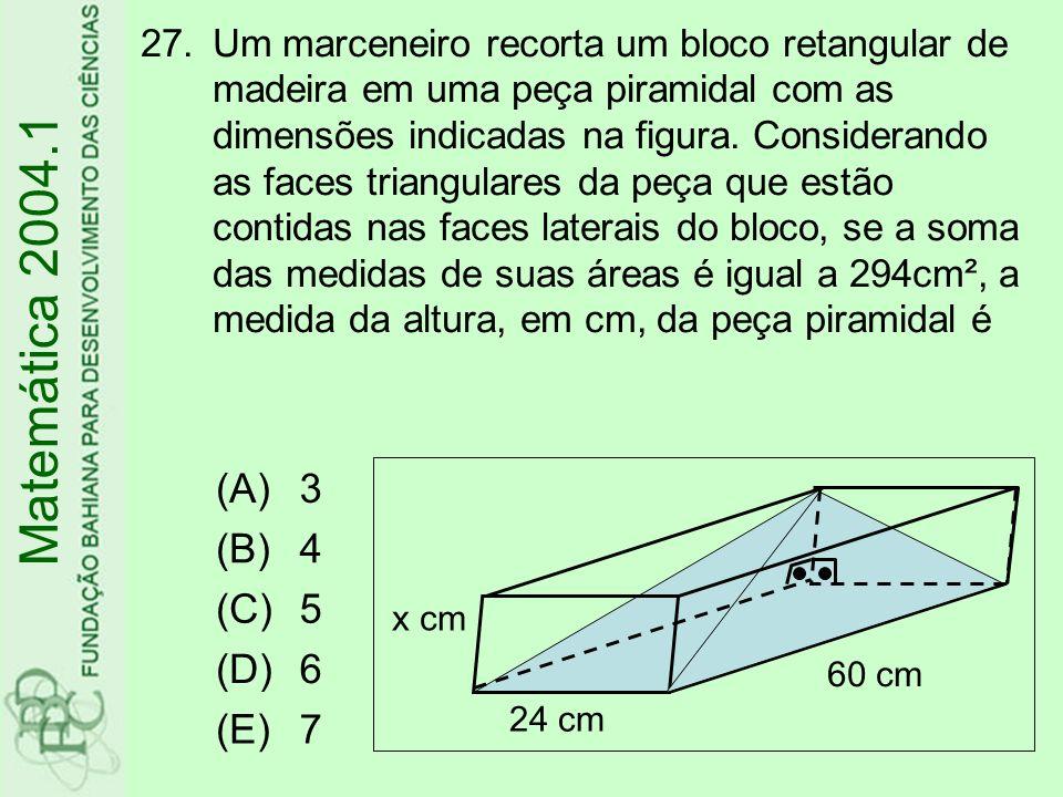 27.Um marceneiro recorta um bloco retangular de madeira em uma peça piramidal com as dimensões indicadas na figura. Considerando as faces triangulares