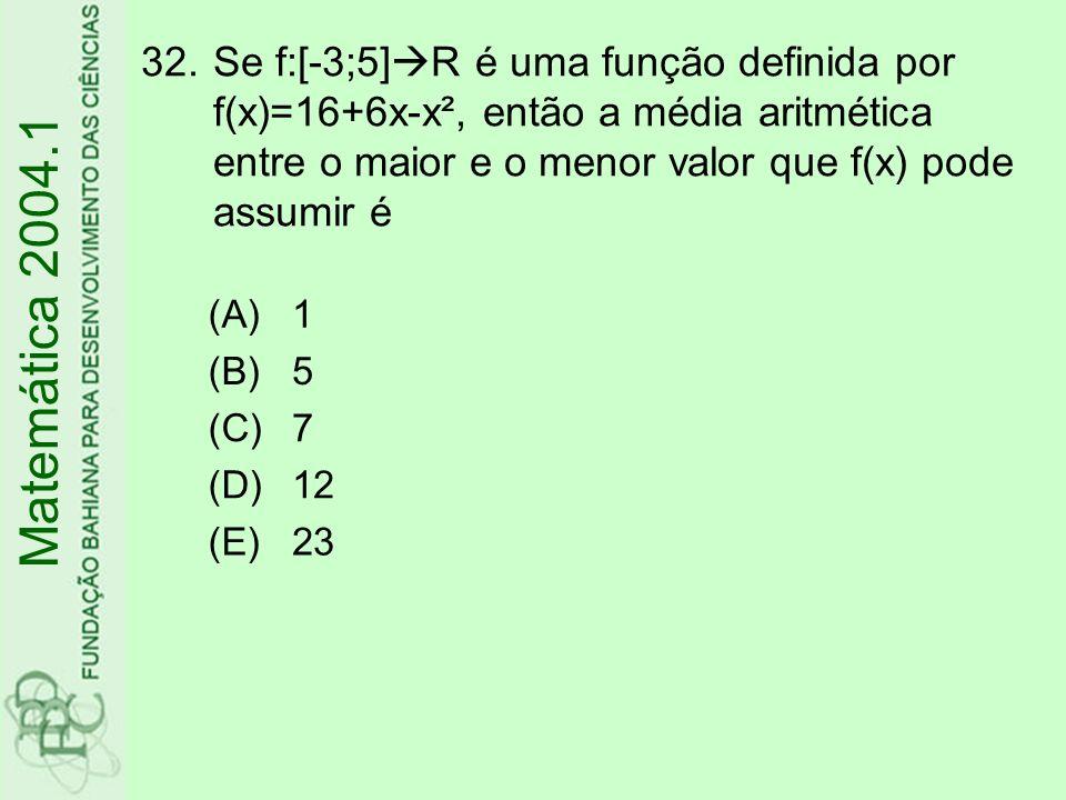 32.Se f:[-3;5] R é uma função definida por f(x)=16+6x-x², então a média aritmética entre o maior e o menor valor que f(x) pode assumir é Matemática 20