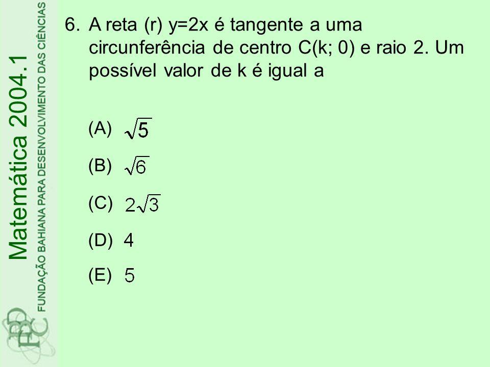 6.A reta (r) y=2x é tangente a uma circunferência de centro C(k; 0) e raio 2. Um possível valor de k é igual a (A) (B) (C) (D) (E) Matemática 2004.1