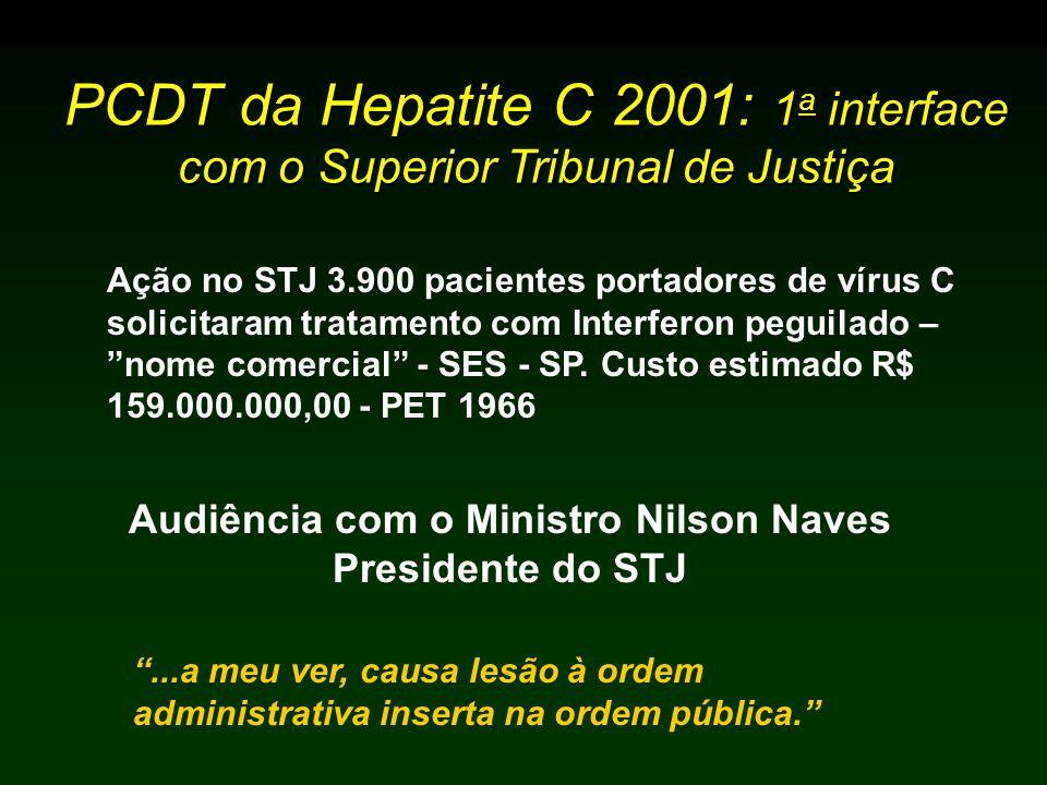 PCDT da Hepatite C 2001: 1 a interface com o Superior Tribunal de Justiça Audiência com o Ministro Nilson Naves Presidente do STJ...a meu ver, causa lesão à ordem administrativa inserta na ordem pública.