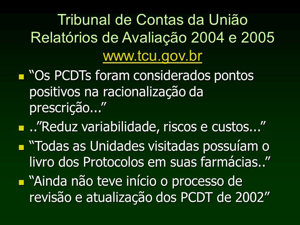 Tribunal de Contas da União Relatórios de Avaliação 2004 e 2005 www.tcu.gov.br www.tcu.gov.br Os PCDTs foram considerados pontos positivos na racional