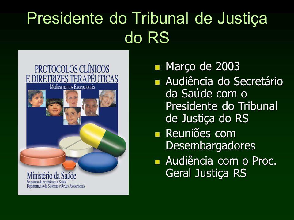 Presidente do Tribunal de Justiça do RS Março de 2003 Março de 2003 Audiência do Secretário da Saúde com o Presidente do Tribunal de Justiça do RS Aud