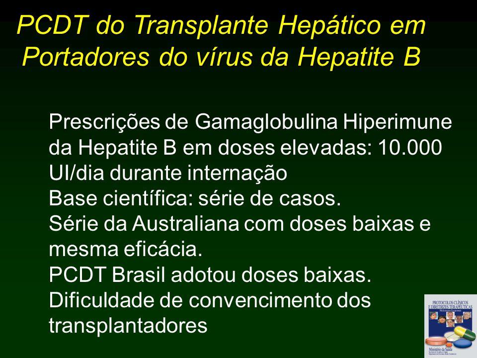 PCDT do Transplante Hepático em Portadores do vírus da Hepatite B Prescrições de Gamaglobulina Hiperimune da Hepatite B em doses elevadas: 10.000 UI/dia durante internação Base científica: série de casos.