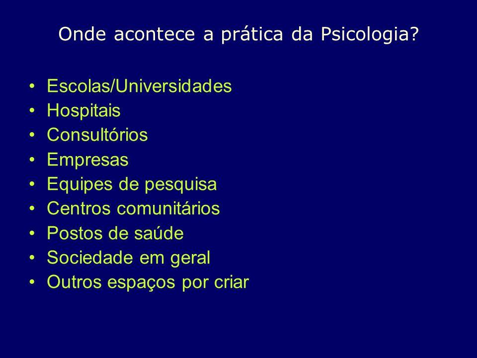 Onde acontece a prática da Psicologia? Escolas/Universidades Hospitais Consultórios Empresas Equipes de pesquisa Centros comunitários Postos de saúde