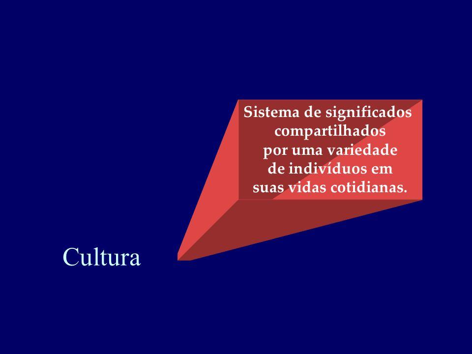 Sistema de significados compartilhados por uma variedade de indivíduos em suas vidas cotidianas. Cultura