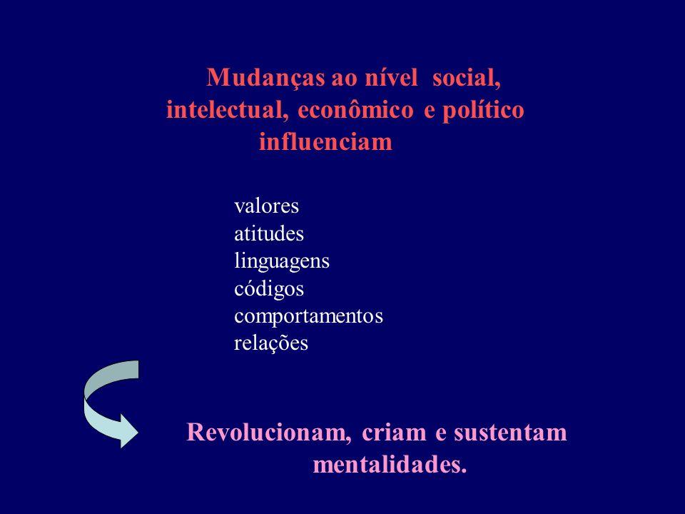 valores atitudes linguagens códigos comportamentos relações Mudanças ao nível social, intelectual, econômico e político influenciam Revolucionam, cria