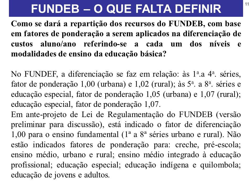 11 Como se dará a repartição dos recursos do FUNDEB, com base em fatores de ponderação a serem aplicados na diferenciação de custos aluno/ano referindo-se a cada um dos níveis e modalidades de ensino da educação básica.