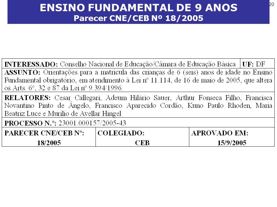 20 ENSINO FUNDAMENTAL DE 9 ANOS Parecer CNE/CEB Nº 18/2005