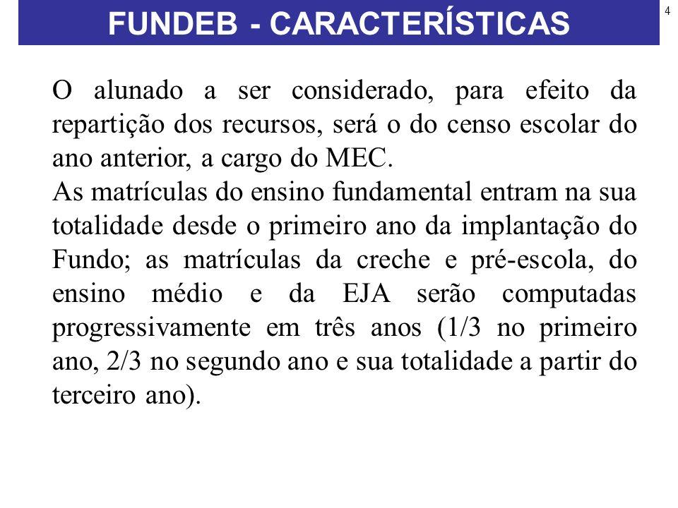 4 O alunado a ser considerado, para efeito da repartição dos recursos, será o do censo escolar do ano anterior, a cargo do MEC.