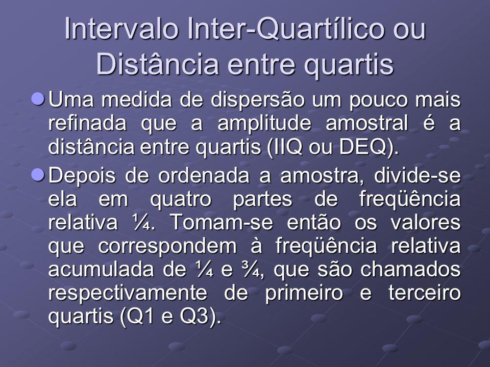 Intervalo Inter-Quartílico ou Distância entre quartis Uma medida de dispersão um pouco mais refinada que a amplitude amostral é a distância entre quartis (IIQ ou DEQ).