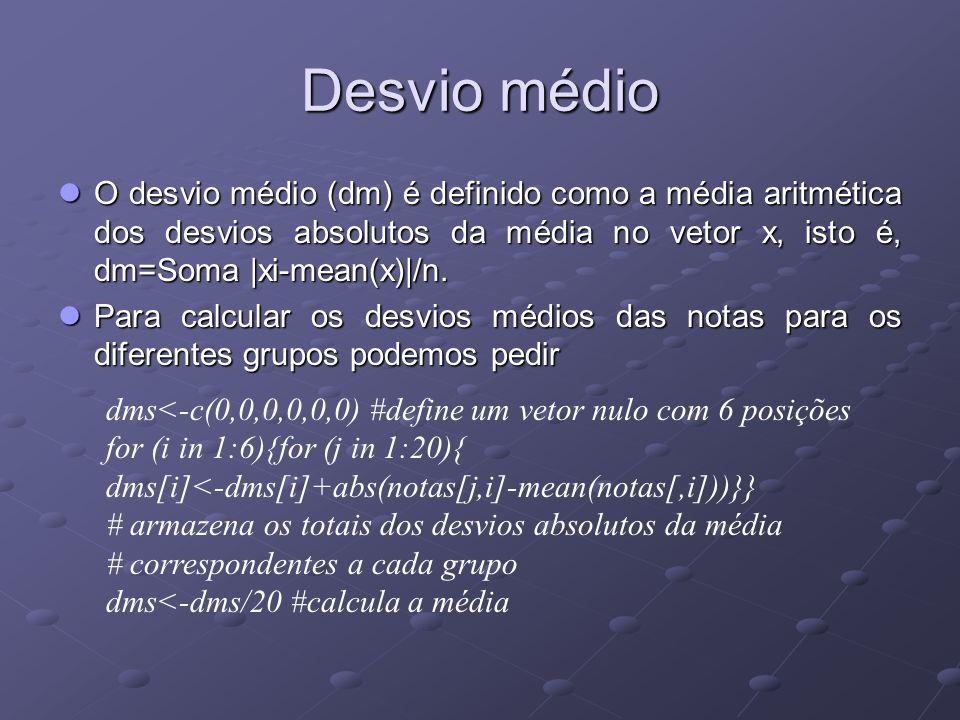 Desvio médio O desvio médio (dm) é definido como a média aritmética dos desvios absolutos da média no vetor x, isto é, dm=Soma |xi-mean(x)|/n.
